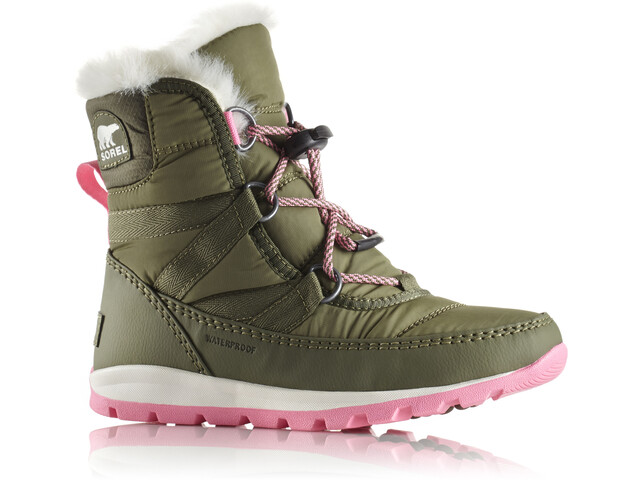 Sorel Youth Whitney Short Lace Boots Hiker Green/Sea Salt